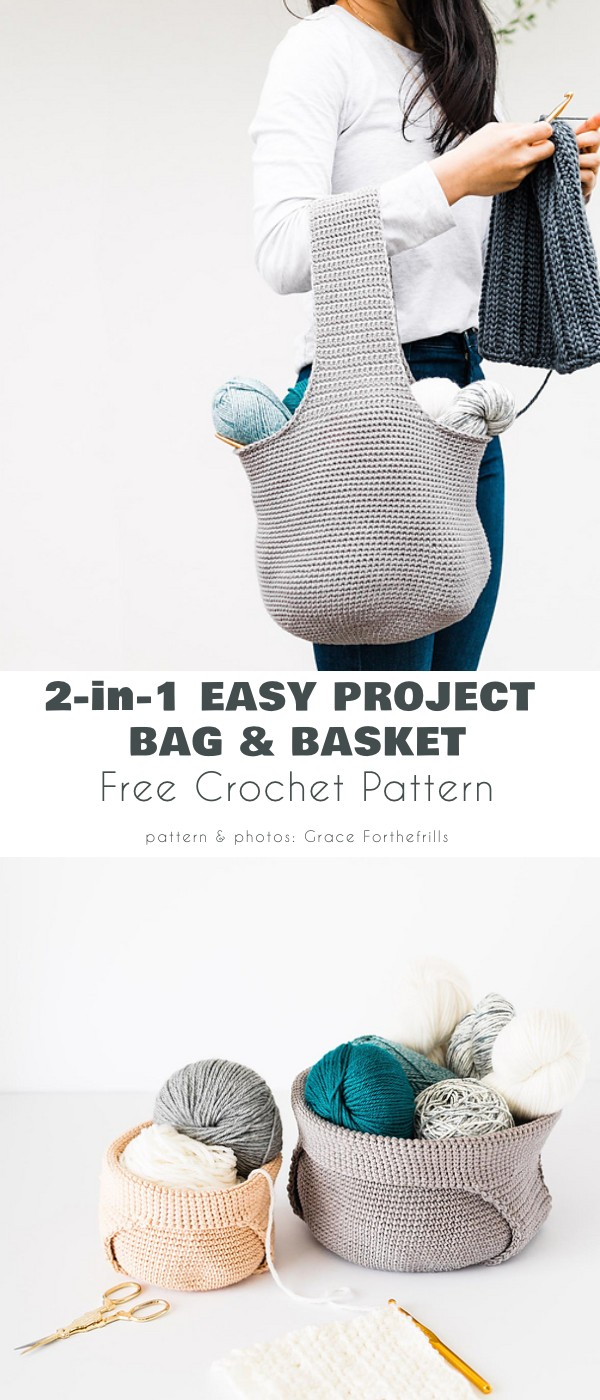 2-in-1 bag and yarn basket