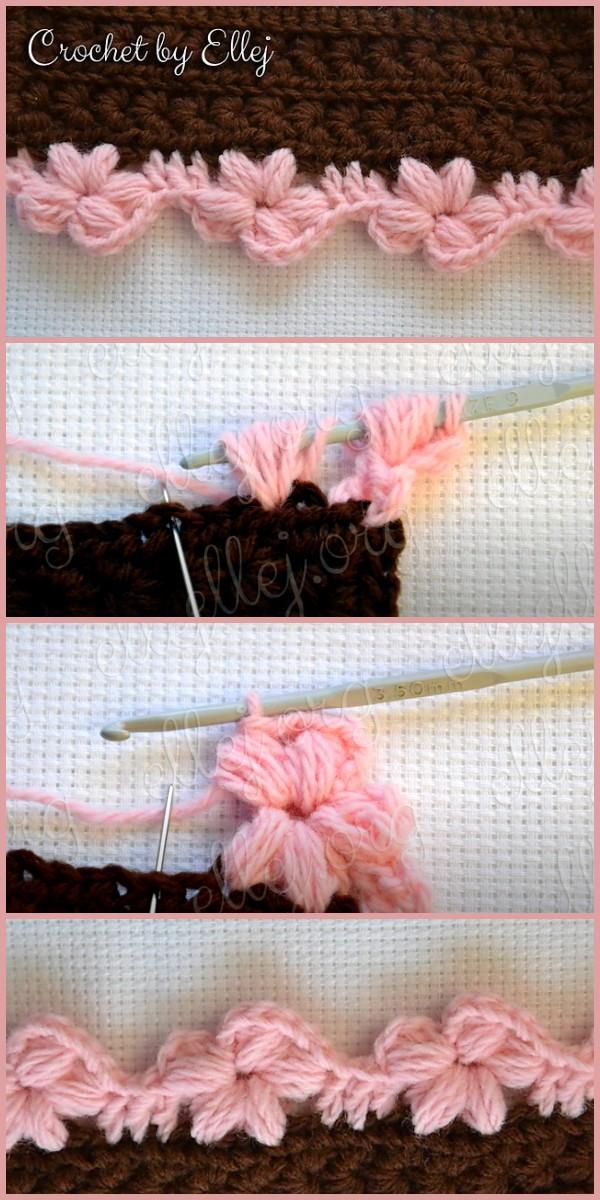 Puff Flower Crochet Border