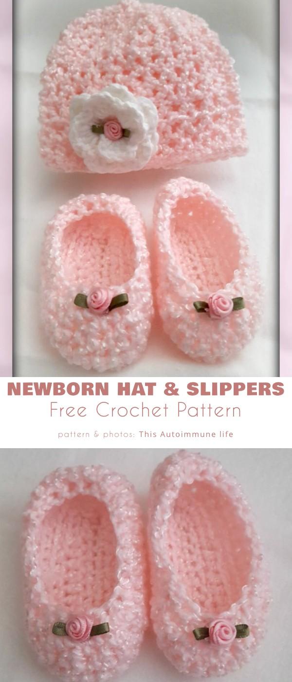 Newborn Hat and Slippers Free Crochet Pattern