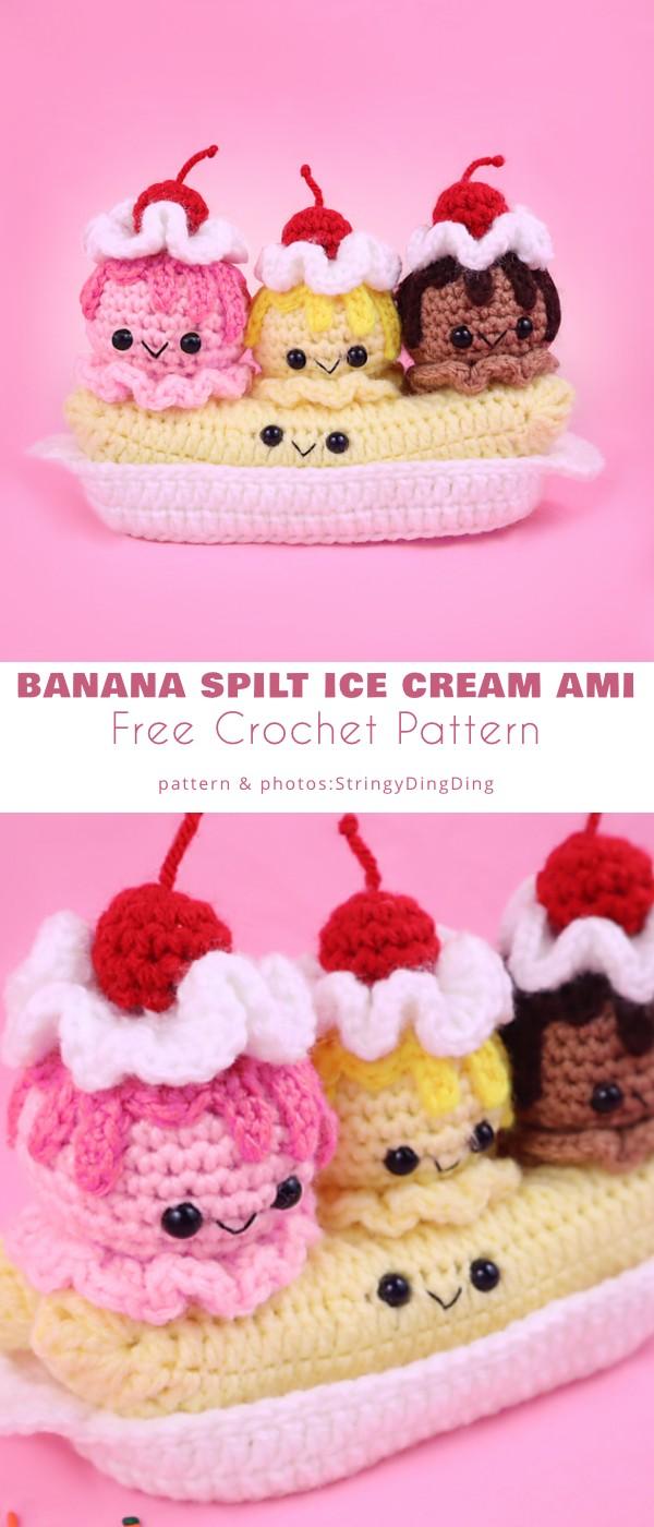 Banana Split Ice Cream Amigurumi