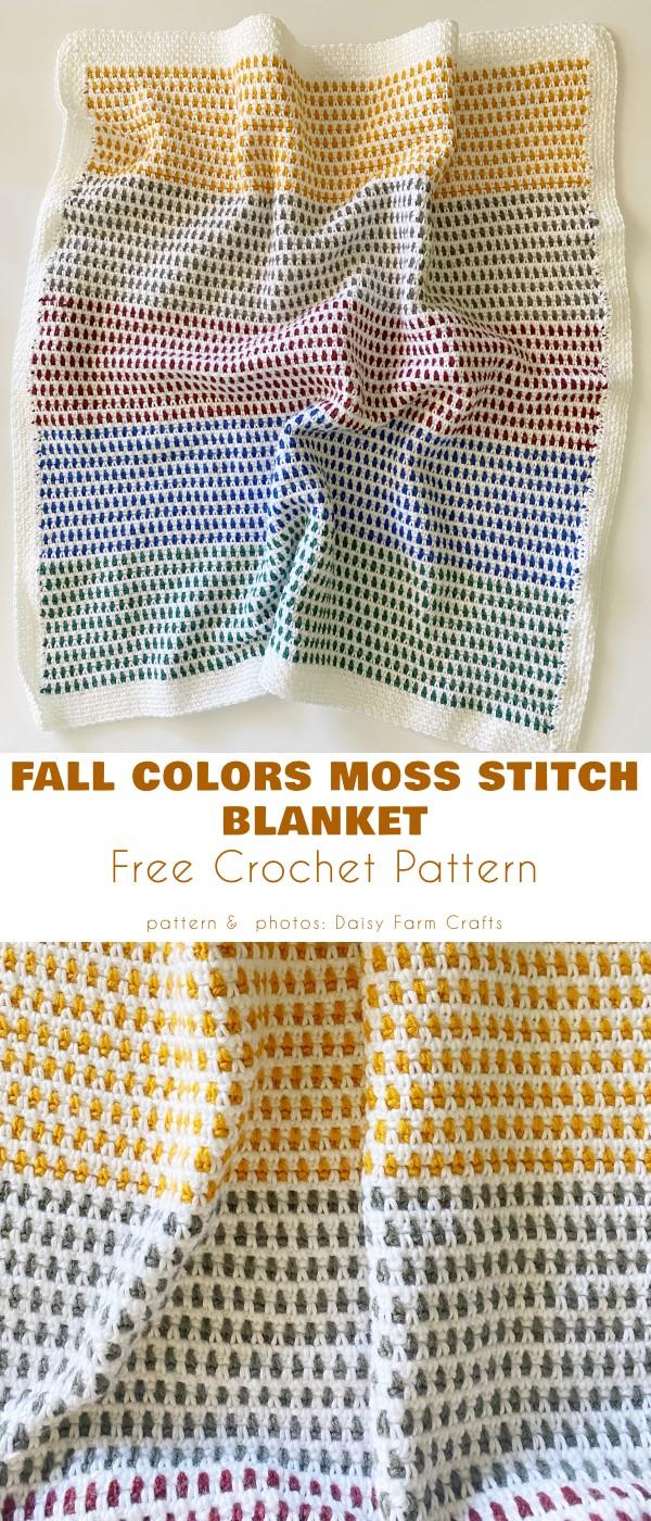 Fall Colors Moss Stitch Blanket