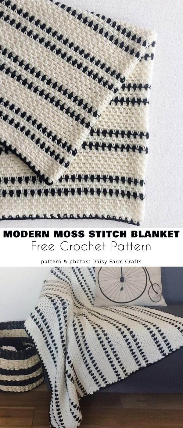 Modern Moss Stitch Blanket