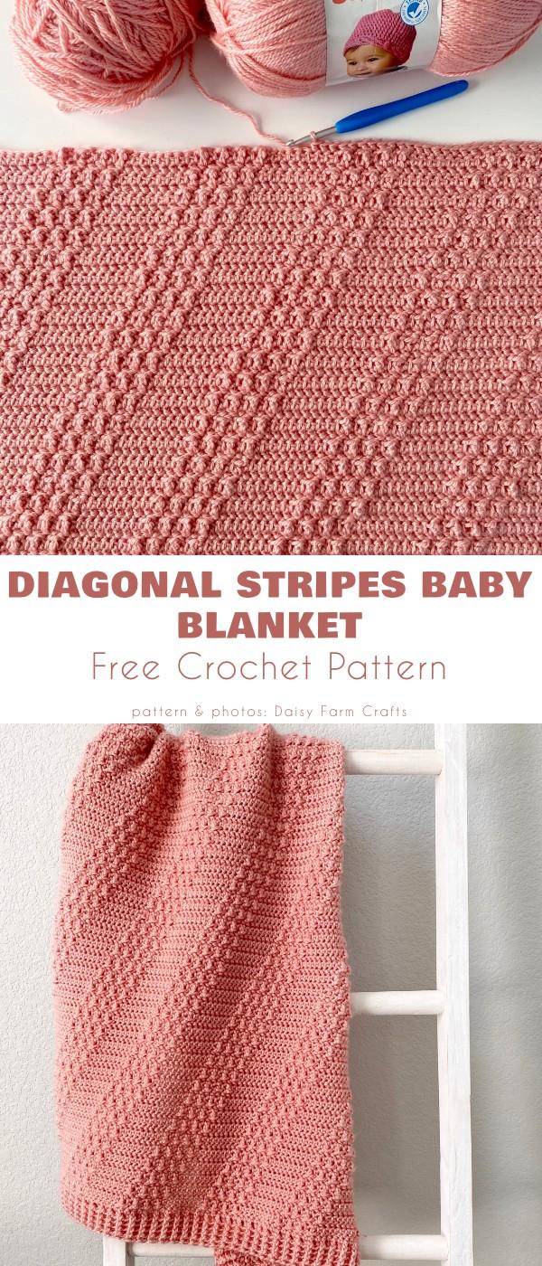 Diagonal Stripes Baby Blanket