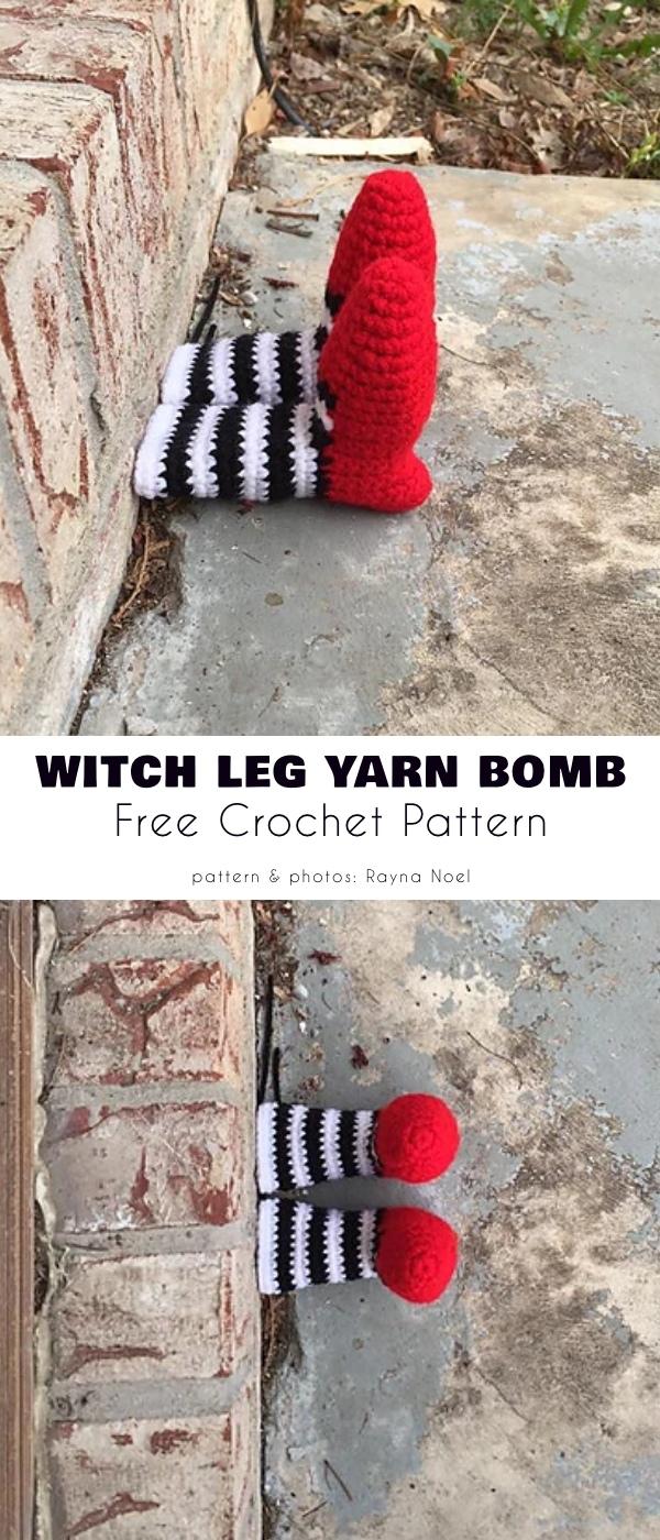 Witch Leg Yarn Bomb